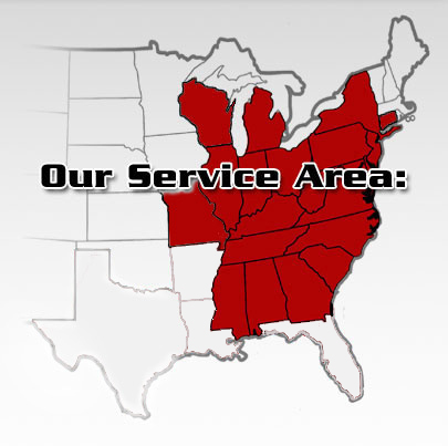 Service Area - Ohio, Michigan, Pennsylvania, Indiana, Illinois, West Verginia, New York, Kentucky, Tennessee,